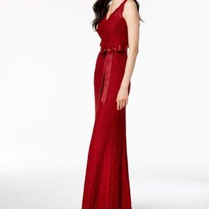 Adrianna Papell Belted Lace Gown Crimson Size 10
